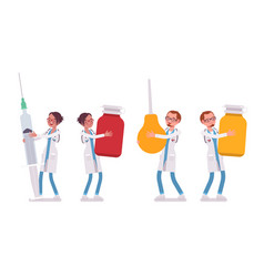 male and female doctor holding giant things vector image