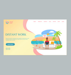 Man working with laptop freelancer web vector