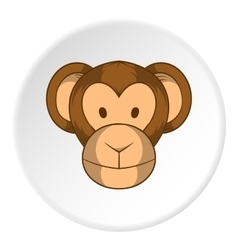 Monkey face icon cartoon style vector