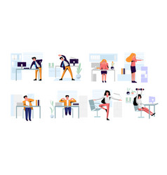 Office people practicing workout doing warm up vector