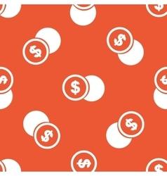 Orange dollar coin pattern vector image