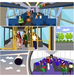 Passengers public transport concept banners vector image