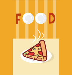 Pizza italian fast food cartoon menu cover vector