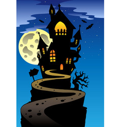 Scene with halloween mansion 2 vector