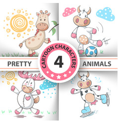 set cartoon animals cow deer bull giraffe vector image