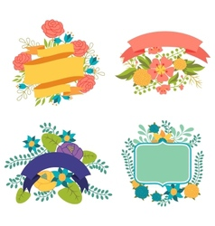 set design elements with ribbons labels vector image