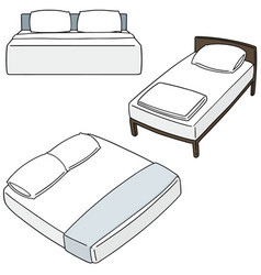 set of bed vector image