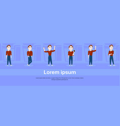 set of cartoon man in casual clothes in different vector image
