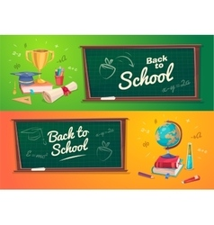 Set of school supplies and icons Back to school vector