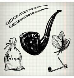 Set of sketches tobacco vector