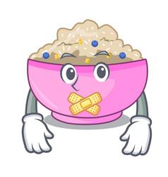 Silent cooked whole porridge oats in cartoon pan vector