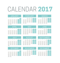 simple 2017 calendar template on white background vector image