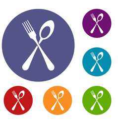 Spoon and fork icons set vector
