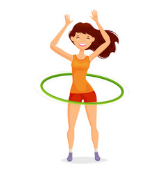 Sport girl turns the hula hoop fitness healthy vector