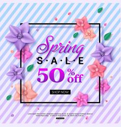 spring sale banner design with trend violet vector image