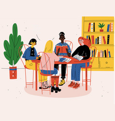 Students sitting together at table with books and vector