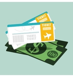 Ticket travel airline dollar money vector