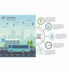 Transporation infographic bus at the bus stop vector