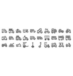 Transportation related icon set 2 line style vector