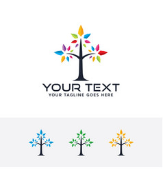 Tree color logo vector