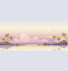 Tropical island at early morning sea and palms vector