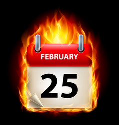 Twenty-fifth february in calendar burning icon on vector