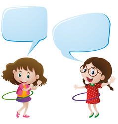 Two girls playing hulahoops vector