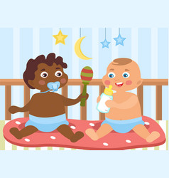 Two little babies different ethnicity vector