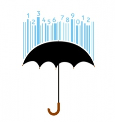 umbrella and bar code vector image