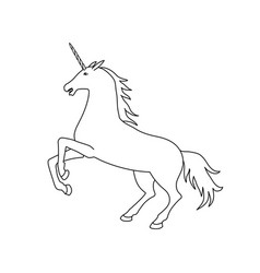 unicorn black and white unicorn contour vector image