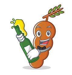 With beer tamarind mascot cartoon style vector