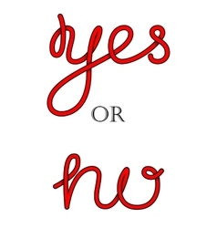 Yes and No hand-lettering calligraphy vector image
