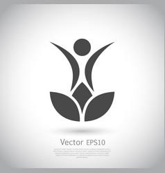 lotus flower yoga logo design vector image vector image