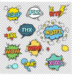 Thx asap plz wtf lol rotfl wow win omg xoxo comic vector