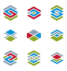 Abstract unusual symbols set creative stylish icon vector image vector image