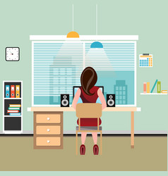 brunette woman works at computer vector image vector image
