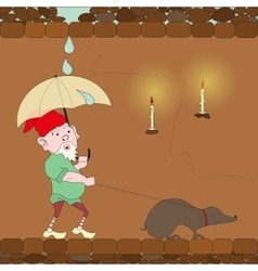 gnome walking with mole vector image