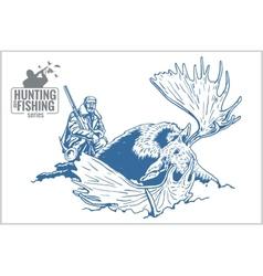 Hunter and elk - vintage vector image