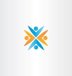 people teamwork orange blue logo sign vector image vector image
