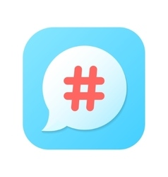 red hashtag icon on blue gradient speech bubble vector image vector image