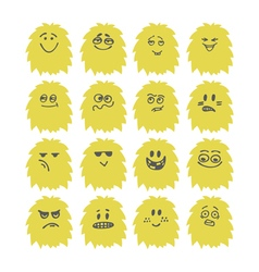 Set of hand drawn cute smiley monsters Collection vector image vector image