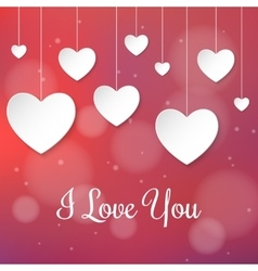 White paper hearts Valentines day card on creative vector image vector image