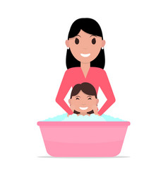 cartoon mother bathes a baby vector image vector image