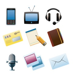communication and media icons vector image vector image