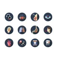 Consequences of smoking round flat icons vector image vector image