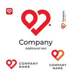modern red heart line logo love identity brand vector image
