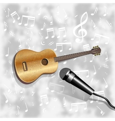 musical background with a guitar and a microphone vector image vector image