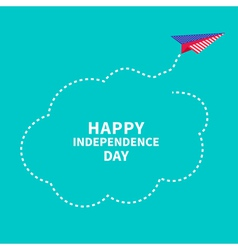 Paper plane Dash line cloud Independence day vector image