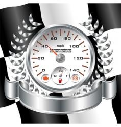 white speedometer racing shield vector image vector image