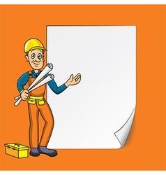 cartoon engineer blank paper vector image vector image